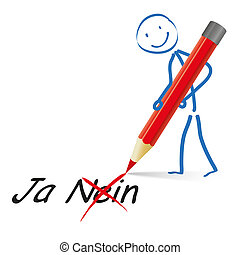 stickman, rød, pen, ja, nej