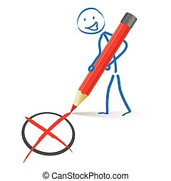 Stickman Red Pen Vote