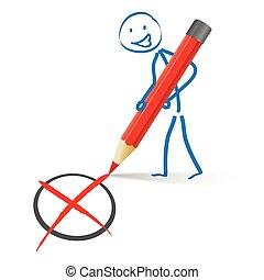 Stickman Red Pen Vote