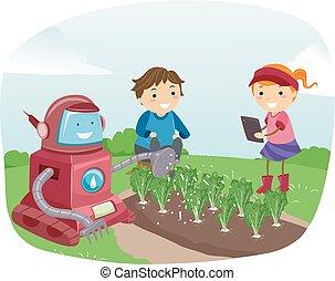 stickman, robot, dzieciaki, ilustracja, ogród
