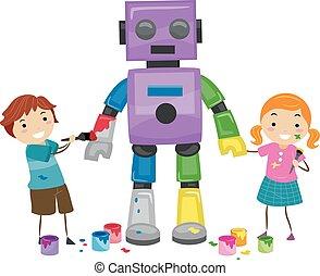 stickman, robot, malować, dzieciaki, ilustracja