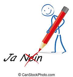 stickman, sì, no, penna, rosso