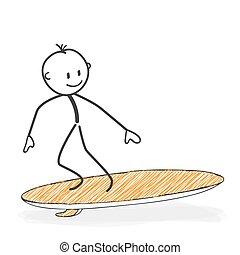 stickman, sanki wodne, figura, -, wtykać, icon., rysunek
