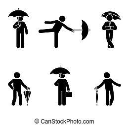 stickman, satz, schirm, ikone