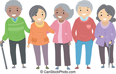 Stickman Senior Citizens - Illustration of a Group of Senior...