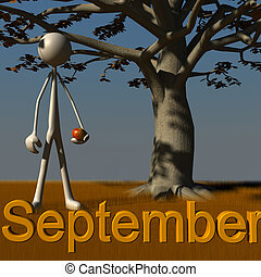 Stickman September - 3d figure standing besides a tree...