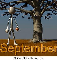 Stickman September - 3d figure standing besides a tree...