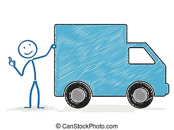 Stickman Shipping Car OK - Stickman with shipping car on the...