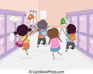 stickman, skok, końce, dzieciaki, szkoła