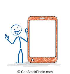 stickman, smartphone, ok