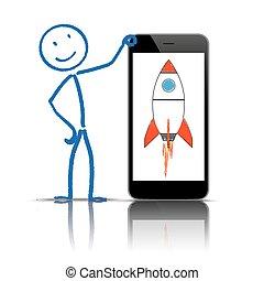 stickman, smartphone, razzo