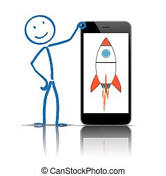 Stickman Smartphone Rocket