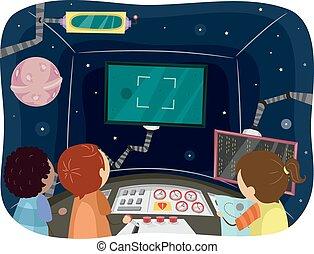 Stickman Space Ship Control Room