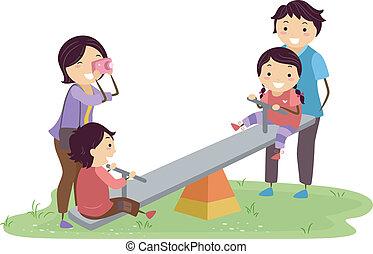stickman, speelplaats, gezin