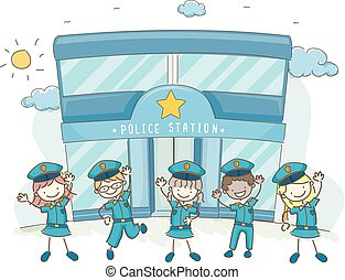 stickman, station, police, illustration, gosses