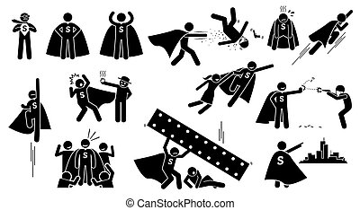 Stickman Superman Superhero. - Cliparts depict a hero...