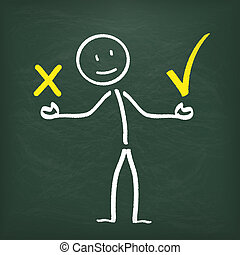 stickman, tafel, 2, kommunikation, problem