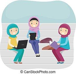 Stickman Teen Girls Muslim Students Illustration