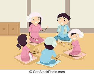 Stickman Teen Group Korean Spa Illustration