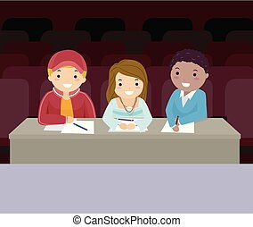 Stickman Teens Audition Judges Illustration