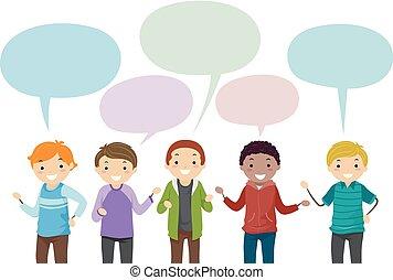 Stickman Teens Boys Speech Bubble Illustration