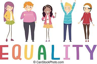 Stickman Teens Equality Illustration