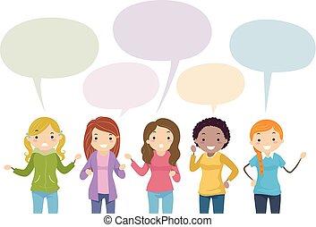 Stickman Teens Girls Speech Bubble Illustration