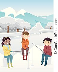 Stickman Teens Ice Fishing Illustration