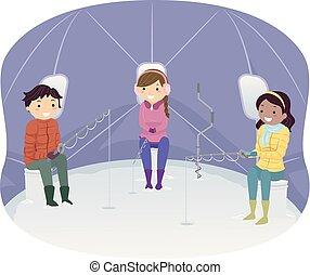 Stickman Teens Ice Fishing Tent Illustration