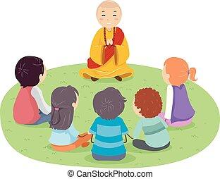 Stickman Teens Monk Outdoors Illustration