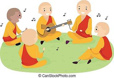 Stickman Teens Monks Playing Guitar Illustration