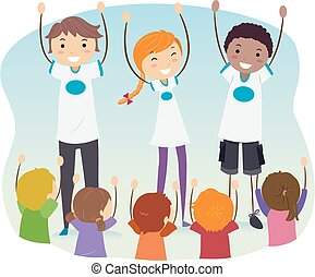 Stickman Teens Outreach Program Kids Illustration
