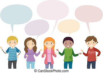 Stickman Teens Speech Bubble Illustration