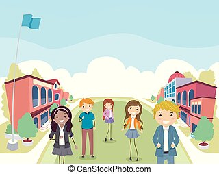 Stickman Teens Students Campus Illustration