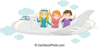 Stickman Teens Travel Buddies Illustration
