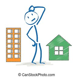 Superior Stickman Thinking Apartment Or House. Stickman With House And  Apartmenthouse On The White Background.