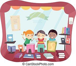 stickman, tienda, niños, mirada, ventana, libro