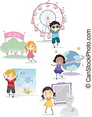 stickman, ubicaciones, niños, campo, ilustración, viaje