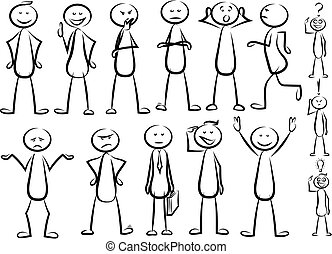 stickman vector set - various positions of stickman -...