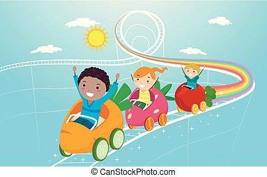 stickman, verdura, montagne russe, bambini, frutte
