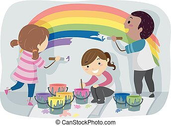 stickman, vernice, parete, bambini, arcobaleno