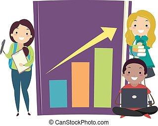 stickman, waarschijnlijkheid, tieners, boek, statistiek