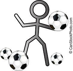 stickman with football