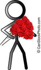 stickman with roses
