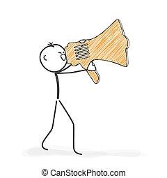 stickman, wyjąc, figura, -, wtykać, icon., megafon, rysunek