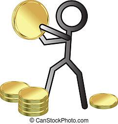 stickman, z, pieniądze