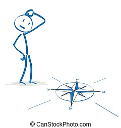 Stickmen with compass on the white background.