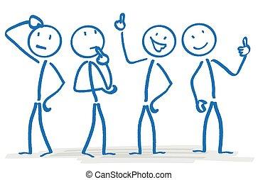 stickmen, concetto, affari, pianificazione