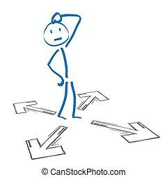 Stickmen Decision - Stickmen with 4 arrows on the white...