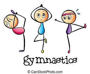 stickmen, fare, ginnastica